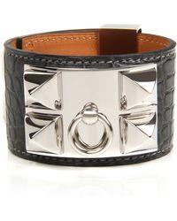 Hermès | Graphite Matte Alligator Collier De Chien Bracelet | Lyst