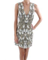 alice + olivia 'Jania' Embellished Plunge V-Neck Dress white - Lyst