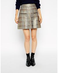 Asos A-Line Skirt In Gold Metallic Check With Zip Detail - Lyst