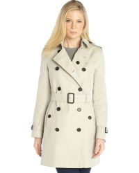 Burberry Stone Cotton Double Breasted Belted Trench Coat - Lyst