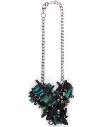 Subversive Jewelry Turquoise And Black Quartz Couture Necklace - Blue