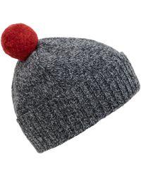 Oliver Spencer - Grey Melange Woolblend Bobble Hat - Lyst