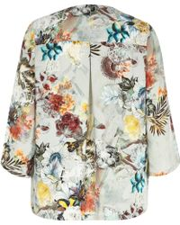 River Island Red Floral Print 3/4 Sleeve Kimono - Lyst