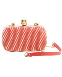 Alexander McQueen Bright Red Leather Studded Detail Skull Clasp Clutch - Lyst
