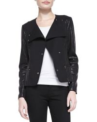 7 For All Mankind Mixed-fabric Snap Jacket - Lyst