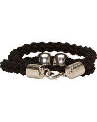 Alexander McQueen Black Braided Wrap Bracelet - Lyst