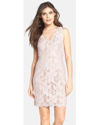 Adrianna Papell Sleeveless Lace Cocktail Dress - Lyst