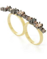 BCBGMAXAZRIA - Multi-stone Double-finger Ring - Lyst
