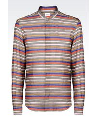 Armani Shirt In Striped Linen With Mandarin Collar - Lyst