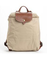 Longchamp Beige Nylon Le Pliage Backpack - Lyst