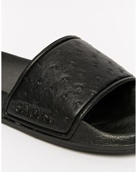 Slydes Ostrich Slider Flip Flops - Black