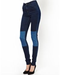 Just Female Stroke High Waist Skinny Jeans with Patches - Blue