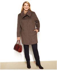 Jones New York Plus Size Shawl-collar Walker Coat - Lyst