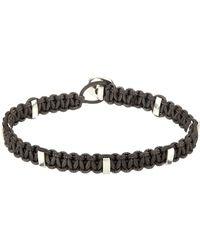 Zadeh Silver Cross  Macramé Cord Bracelet - Grey