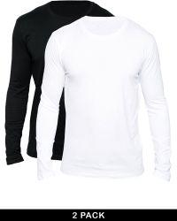 SELECTED 2 Pack Long Sleeve Top Regular Fit Blackwhite - Multicolour