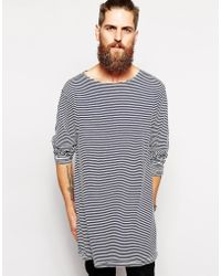 American Apparel Stripe Longline Top with Boat Neck - Lyst