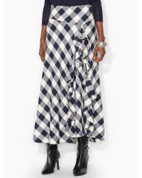 Lauren by Ralph Lauren Ruffled Plaid Skirt - Lyst