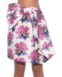 Caterina Gatta Bow-front Floral-print Skirt - Pink