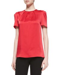 Michael Kors Pleated-neck Charmeuse Top - Lyst