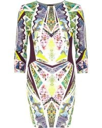 River Island Yellow Graphic Print Bodycon Dress - Lyst