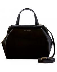 Lulu Guinness Black Polished Leather Small Paula - Lyst