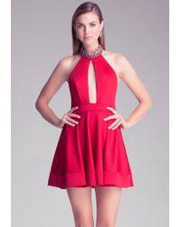Bebe Embellished Halter Dress - Red