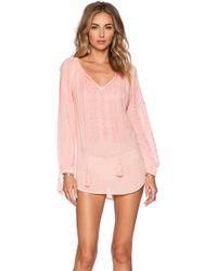 Nanette Lepore Calcutta Peasant Cotton Tunic pink - Lyst