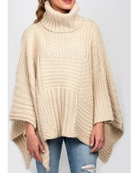 Look By M Textured Ponco white - Lyst