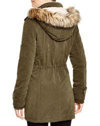 DKNY Piper Faux Fur Trim Anorak - Green