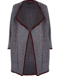 River Island Grey Relaxed Waterfall Coat - Lyst