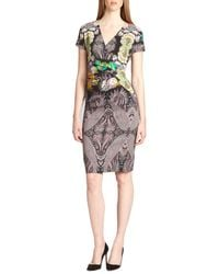 Etro Printed Wrap-effect Stretch Knit Dress - Lyst