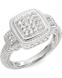 Judith Ripka Natalie White Sapphire & Sterling Silver Pavé Step Ring silver - Lyst