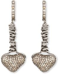 Irit Design Dangling Pave Diamond Heart Earrings - Metallic