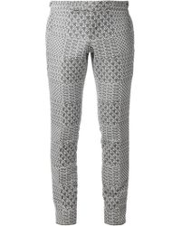 Thom Browne Printed Cropped Trousers - Lyst