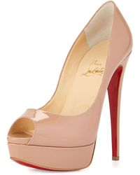 Christian louboutin Merci Allen Patent 100mm Red Sole Pump in Pink ...