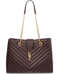 Saint Laurent Quilted Leather Tote - For Women - Lyst