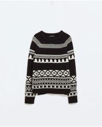 Zara Black Jacquard Sweater - Lyst