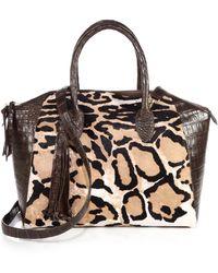 Nancy Gonzalez Leopard-Print Calf Hair Tassel Bowler Bag - Lyst