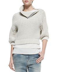 Brunello Cucinelli Half-sleeve Sweater W Zip Shoulder - Lyst