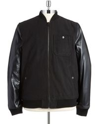 Levi's Faux Leather and Knit Bomber Jacket - Lyst