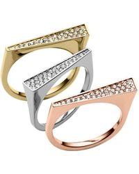 Michael Kors Pavé-embellished Tri-tone Triangle Ring - Lyst