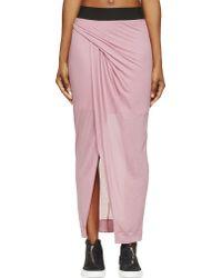 Helmut Lang Pink Slack Jersey Long Drape Skirt - Lyst