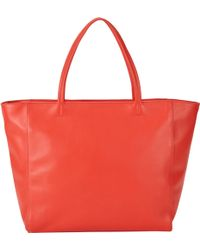 Barneys New York Red Topzip Tote - Lyst