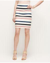 Ann Taylor Marine Stripe Mini Skirt - Lyst
