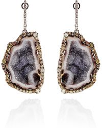 Kimberly Mcdonald - One Of A Kind Geode and Natural Color Diamond Lever Back Earrings - Lyst