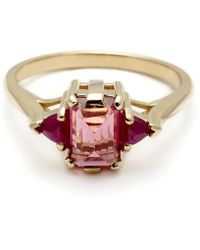 Anna Sheffield Bea Cocktail Ring (Small)- Pink Tourmaline & Ruby red - Lyst