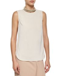 Brunello Cucinelli Layered-Back Silk Tank - Lyst