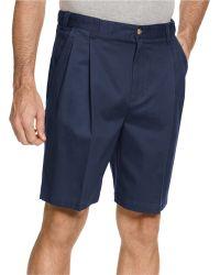 Geoffrey Beene Extender Waist Double Pleat Shorts - Blue