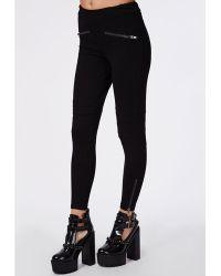 Missguided Michella Biker Style Skinny Fit Trousers Black - Lyst