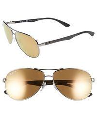 Ray-Ban Women'S 'Tech' Polarized 61Mm Aviator Sunglasses - Silver/ Gold Polar - Lyst